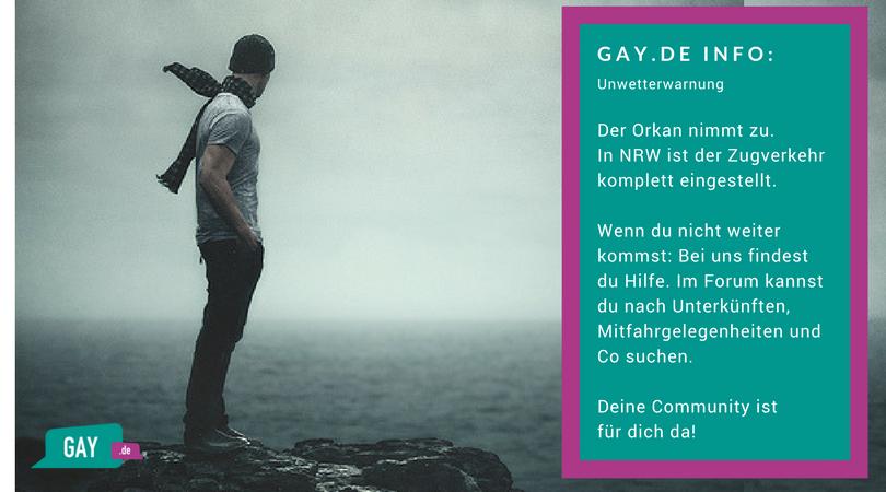 Deine Community hilft wenn du wegen Orkan Friederike nicht weiter kommst - Gay.de