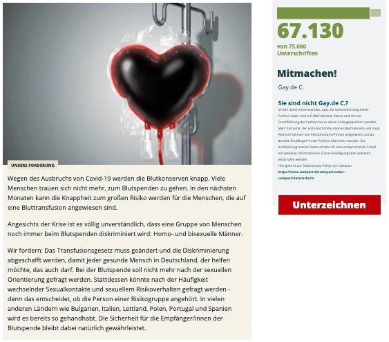 Knappheit der Blutreserven durch Covid-19: Diskriminierung beim Blutspenden stoppen!